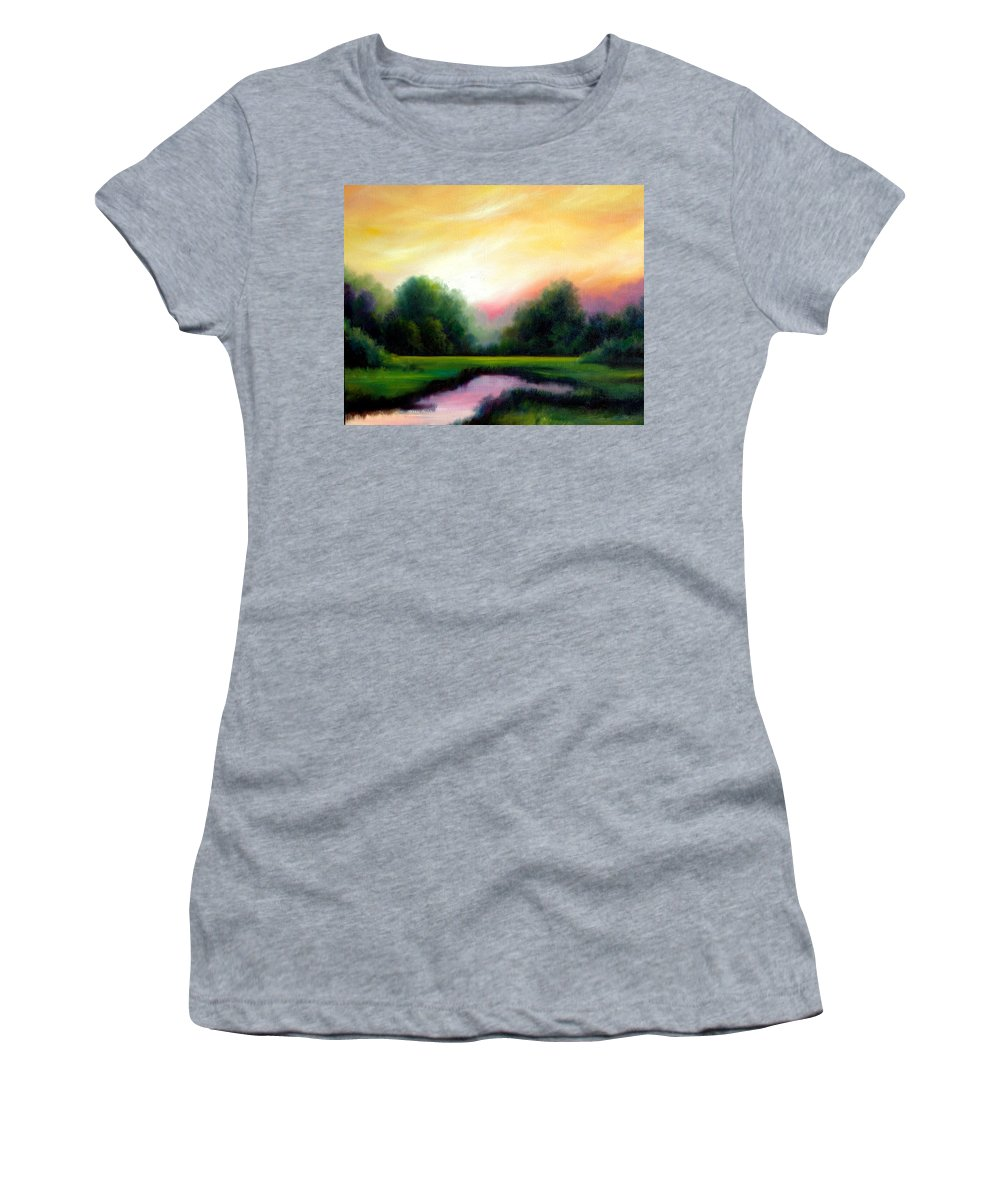 Clouds Women's T-Shirt featuring the painting A Spring Evening by James Christopher Hill
