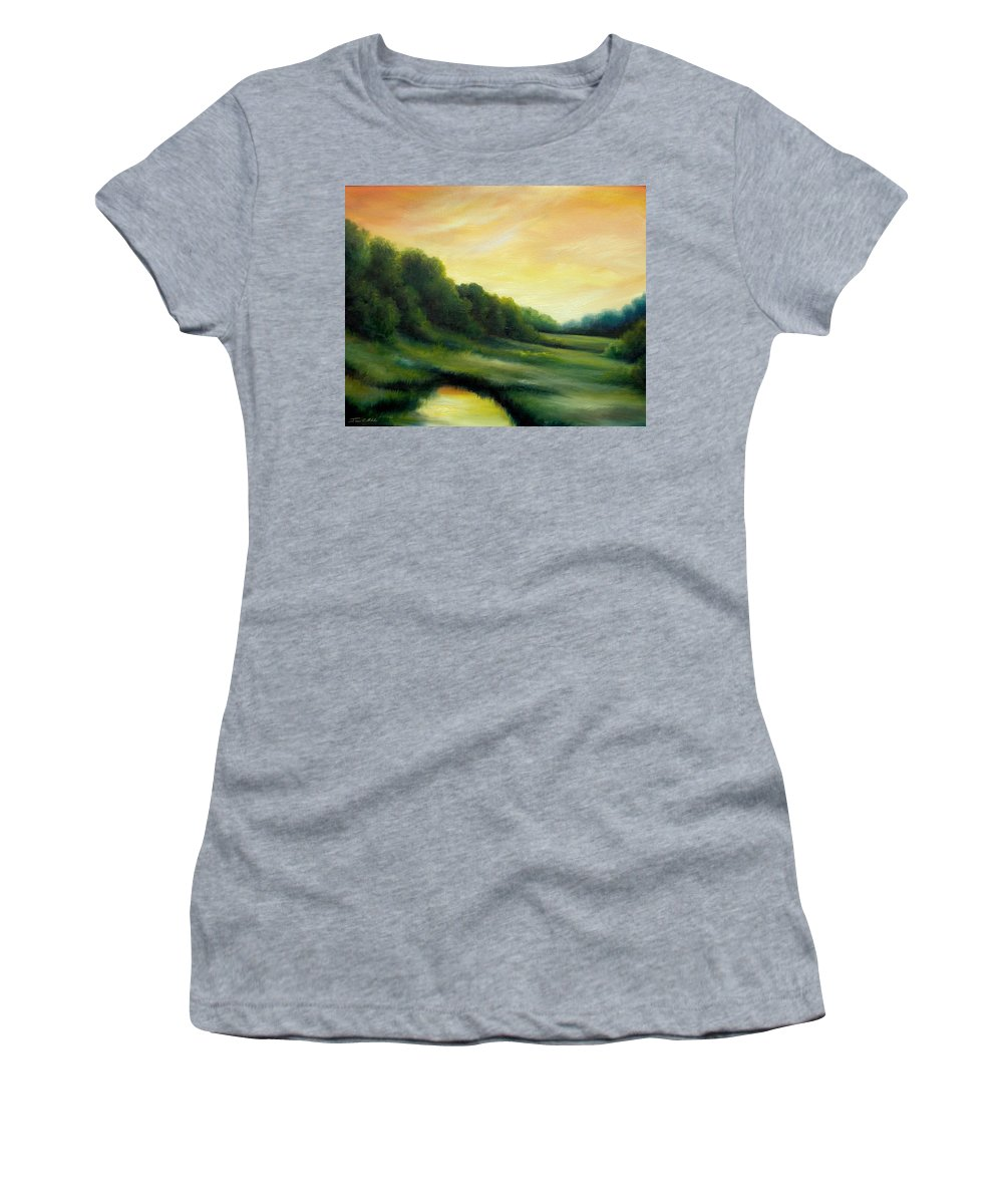 Clouds Women's T-Shirt (Athletic Fit) featuring the painting A Spring Evening Part Two by James Christopher Hill
