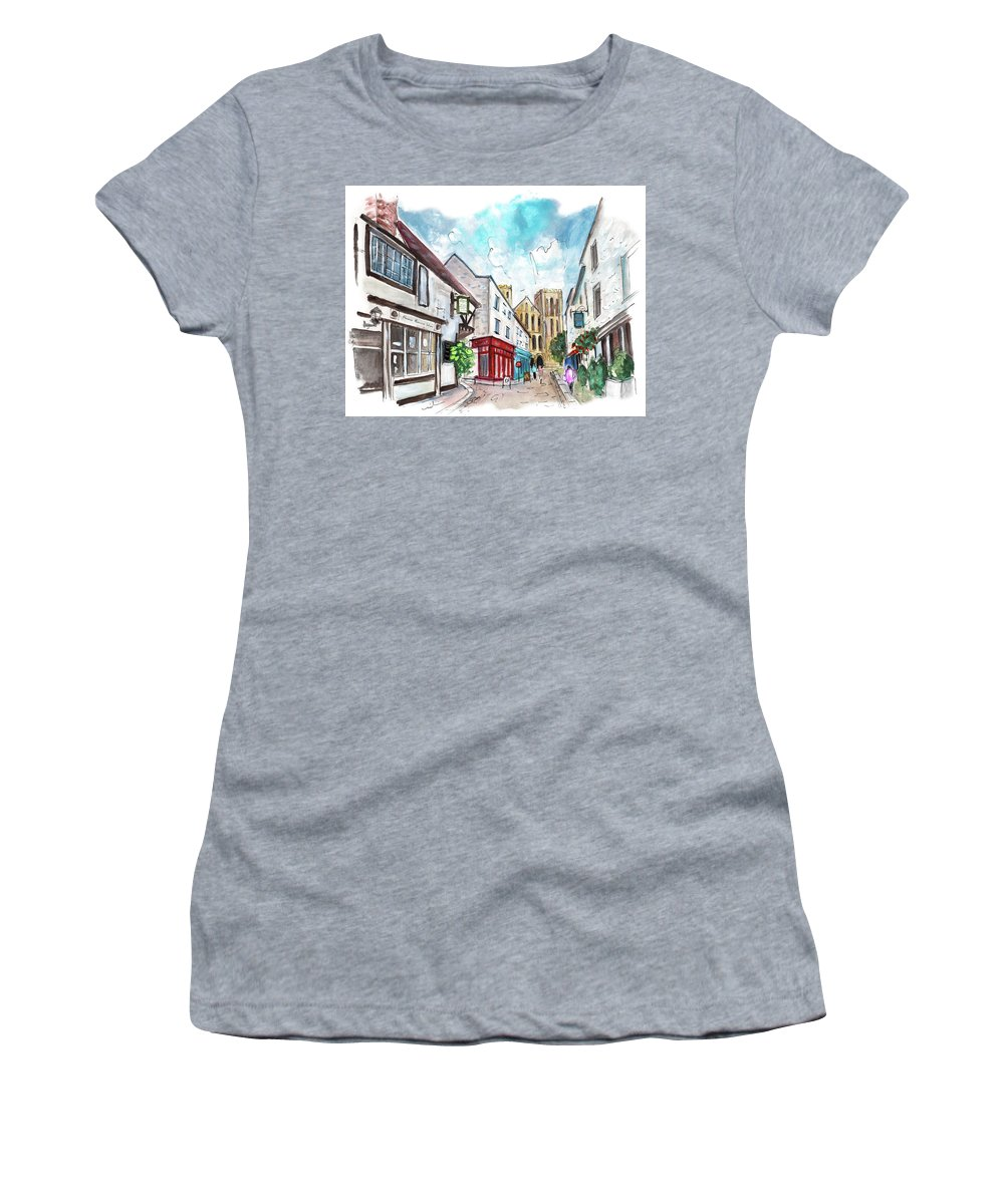 Travel Women's T-Shirt (Athletic Fit) featuring the painting A Street In Ripon by Miki De Goodaboom