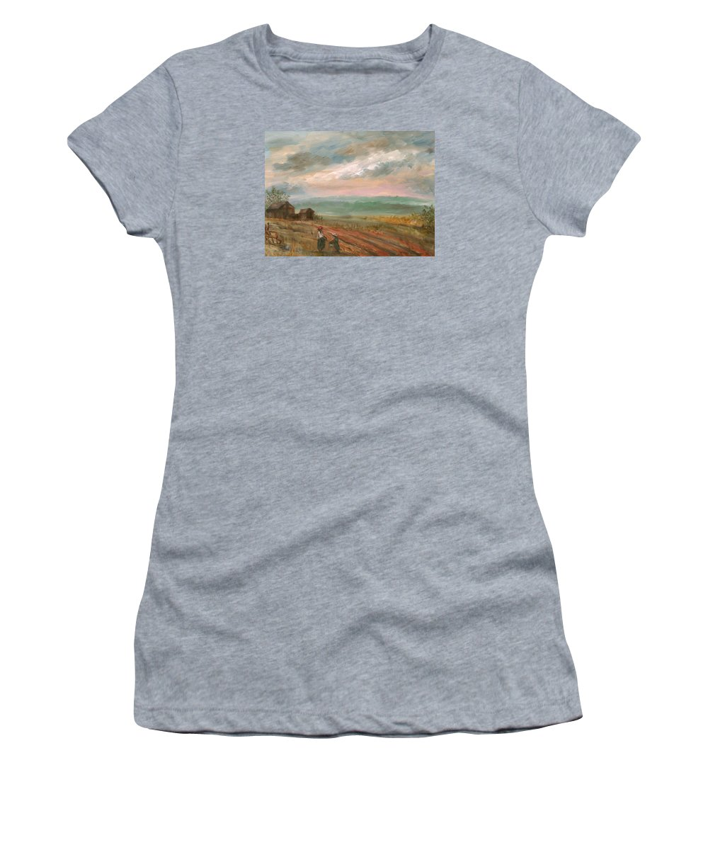 Landscape Women's T-Shirt (Athletic Fit) featuring the painting A Time To Plant - Sold by Vivan Robinson