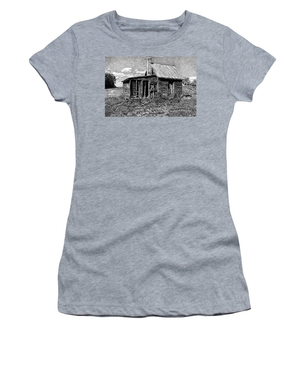 Abandoned Farmhouse Women's T-Shirt (Athletic Fit) featuring the drawing Abandoned Farmhouse by Stacie Dowdy