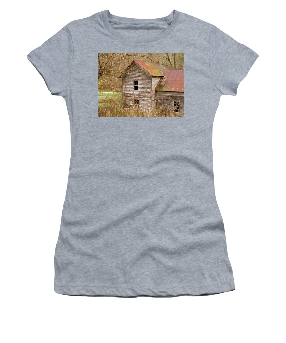 Abandoned Women's T-Shirt (Athletic Fit) featuring the photograph Abandoned House With Colorful Roof by Douglas Barnett