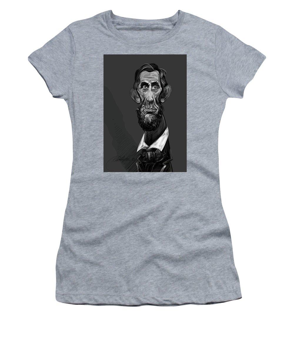 Digital Women's T-Shirt (Athletic Fit) featuring the digital art Abraham Lincoln by Mentor Berisha