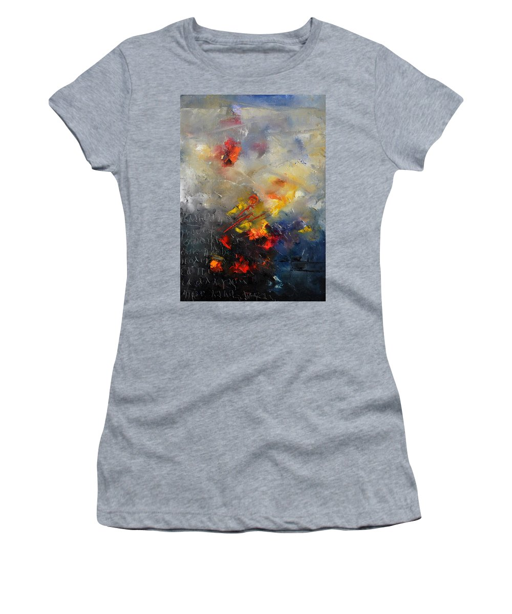 Abstract Women's T-Shirt (Athletic Fit) featuring the painting Abstract 0805 by Pol Ledent