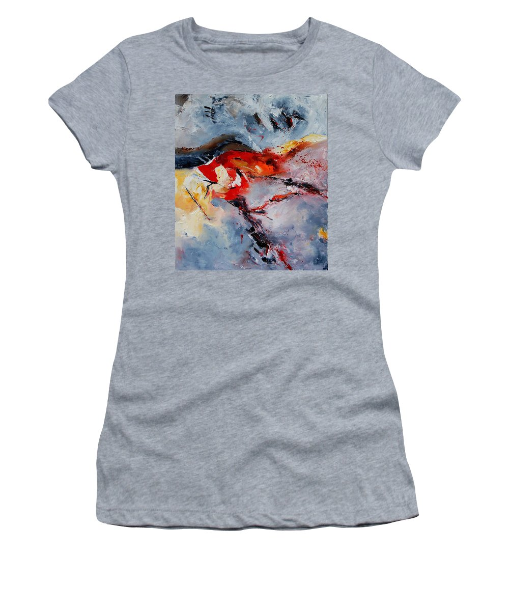 Abstract Women's T-Shirt (Athletic Fit) featuring the painting Abstract 1106 by Pol Ledent