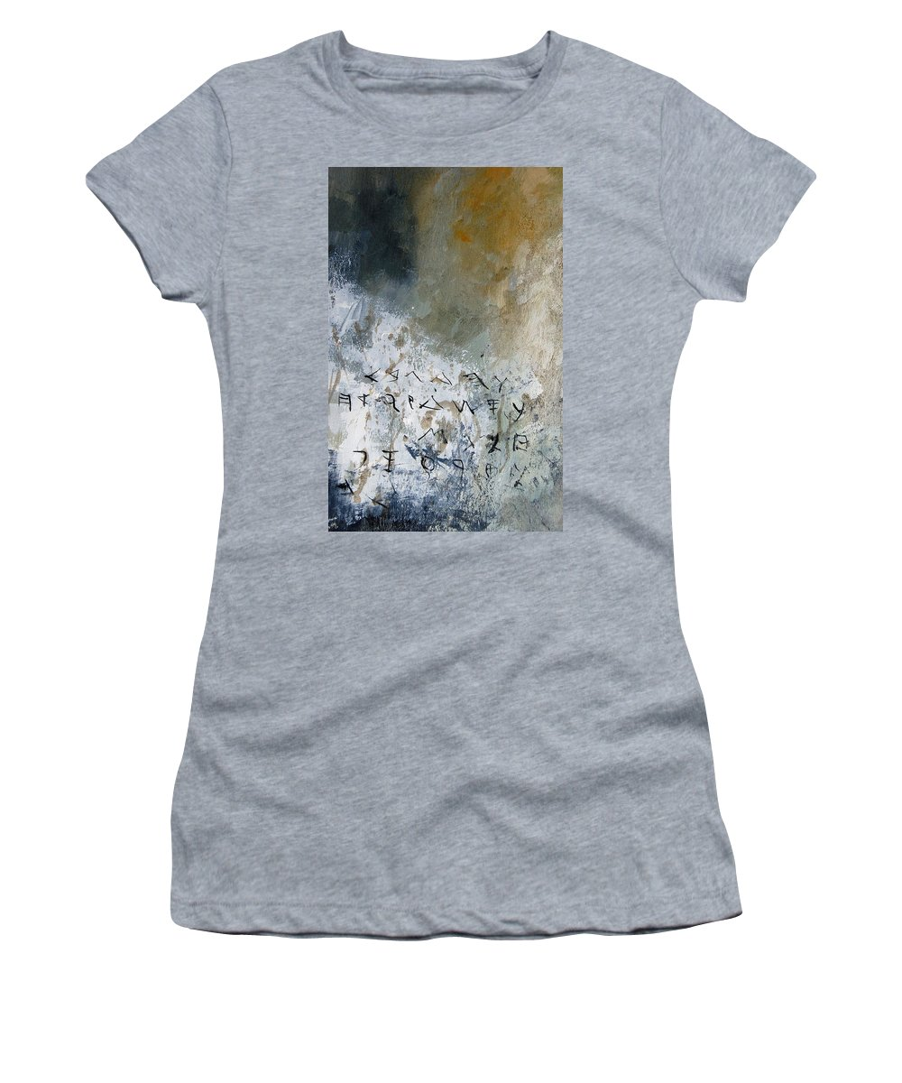 Abstract Women's T-Shirt (Athletic Fit) featuring the painting Abstract 904023 by Pol Ledent