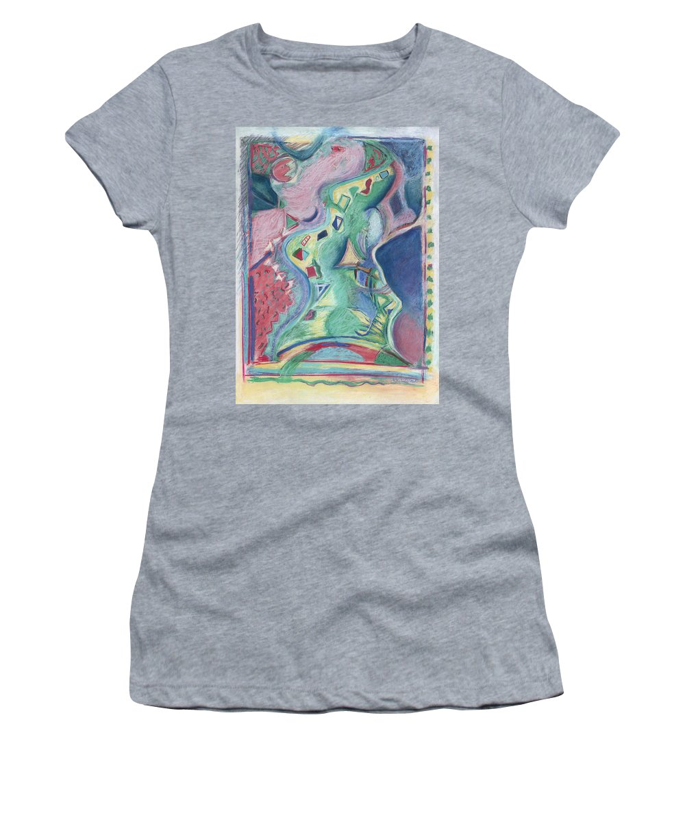 Abstract Women's T-Shirt (Athletic Fit) featuring the painting Abstract 92 - Inner Landscape by Kerryn Madsen- Pietsch