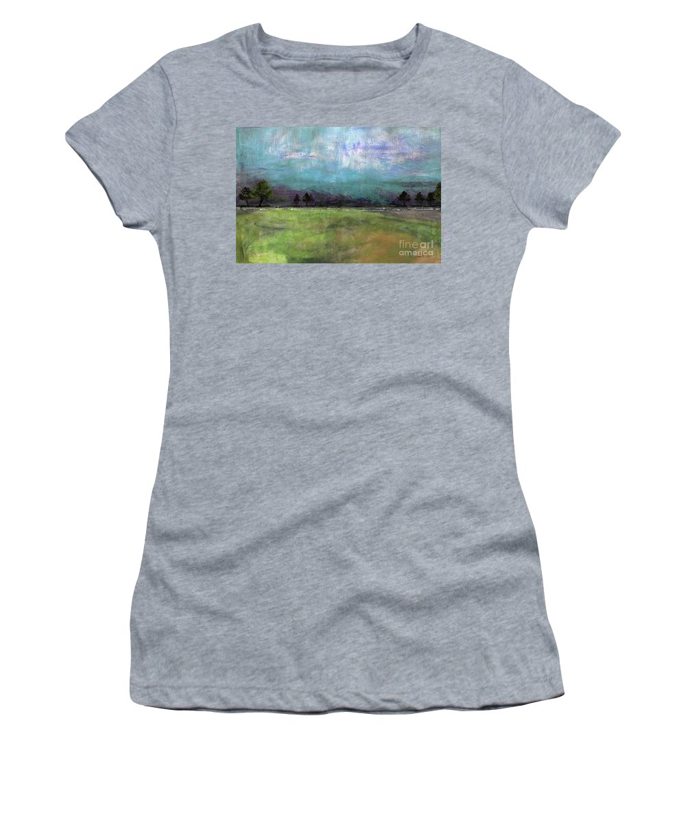 Abstract Women's T-Shirt (Athletic Fit) featuring the painting Abstract Aqua Sky Landscape by Jean Plout