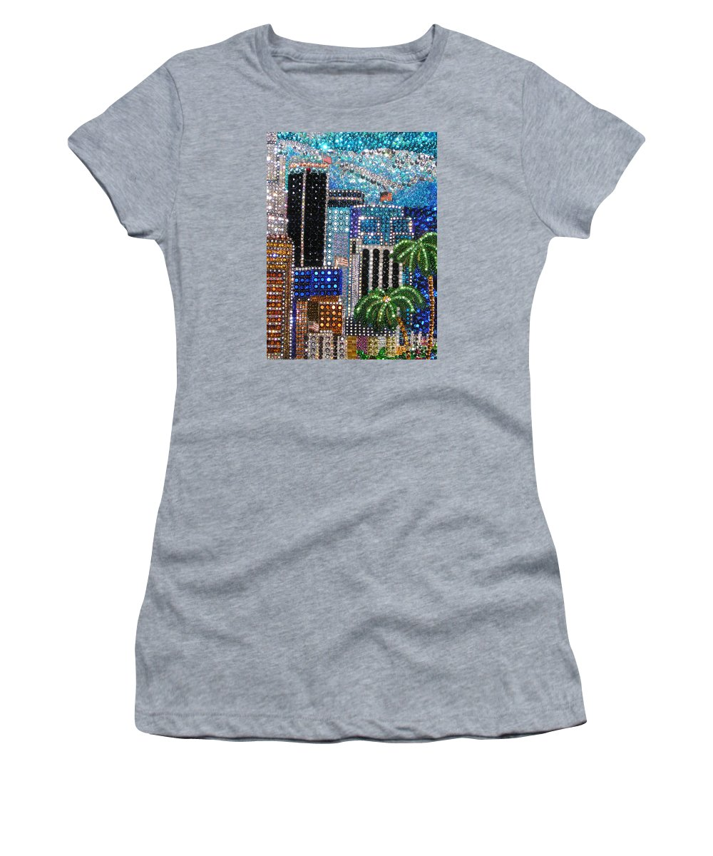 Los Angeles Women's T-Shirt (Athletic Fit) featuring the painting Los Angeles. Rhinestone Mosaic With Beadwork by Sofia Metal Queen