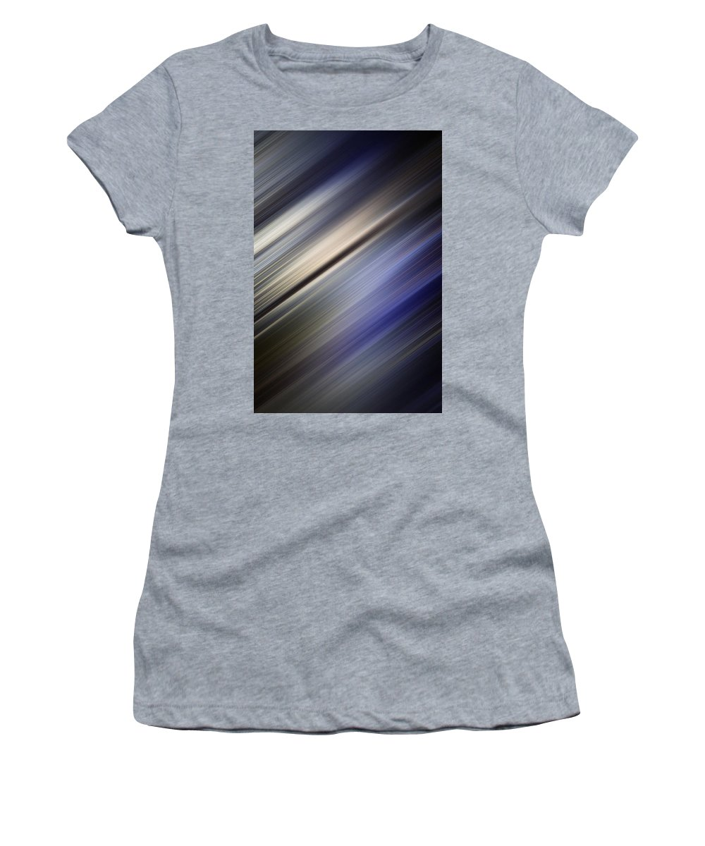 Graphic Women's T-Shirt (Athletic Fit) featuring the photograph Abstract Blurred Blue And Gray Background by Jozef Jankola