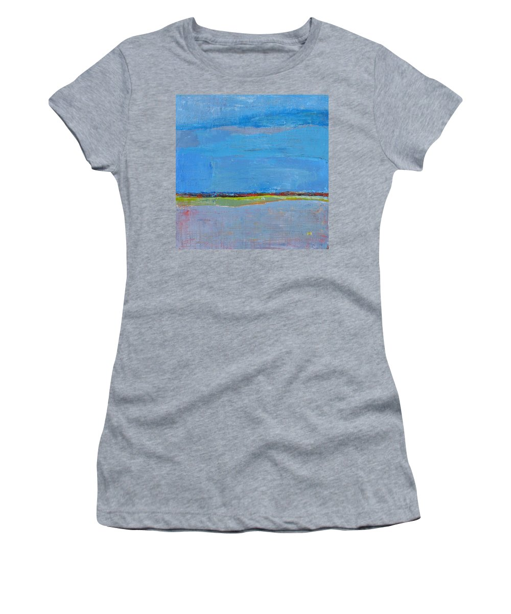 Women's T-Shirt featuring the painting Abstract Landscape1 by Habib Ayat