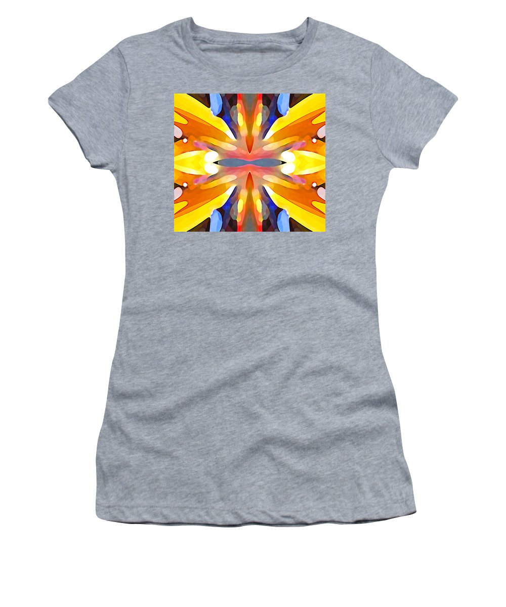Abstract Art Women's T-Shirt (Athletic Fit) featuring the painting Abstract Paradise by Amy Vangsgard