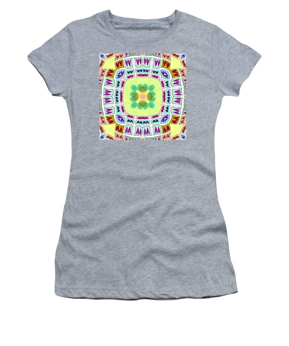 Yellow Women's T-Shirt (Athletic Fit) featuring the digital art Abstract Seamless Pattern - Yellow Green Blue Purple White Gray by Lenka Rottova