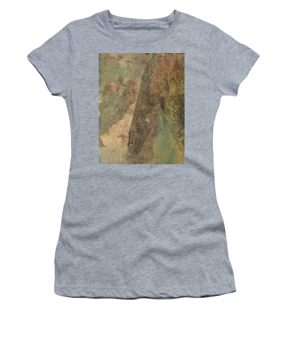Abstract Women's T-Shirt (Athletic Fit) featuring the mixed media Abstract Three by Pat Snook