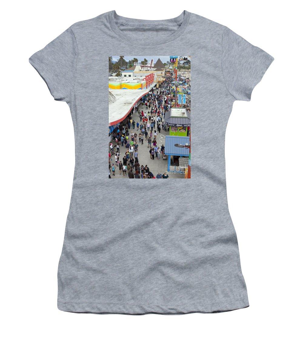 Santa Cruz Boardwalk Women's T-Shirt featuring the photograph Aerial View Santa Cruz Boardwalk by Jason O Watson