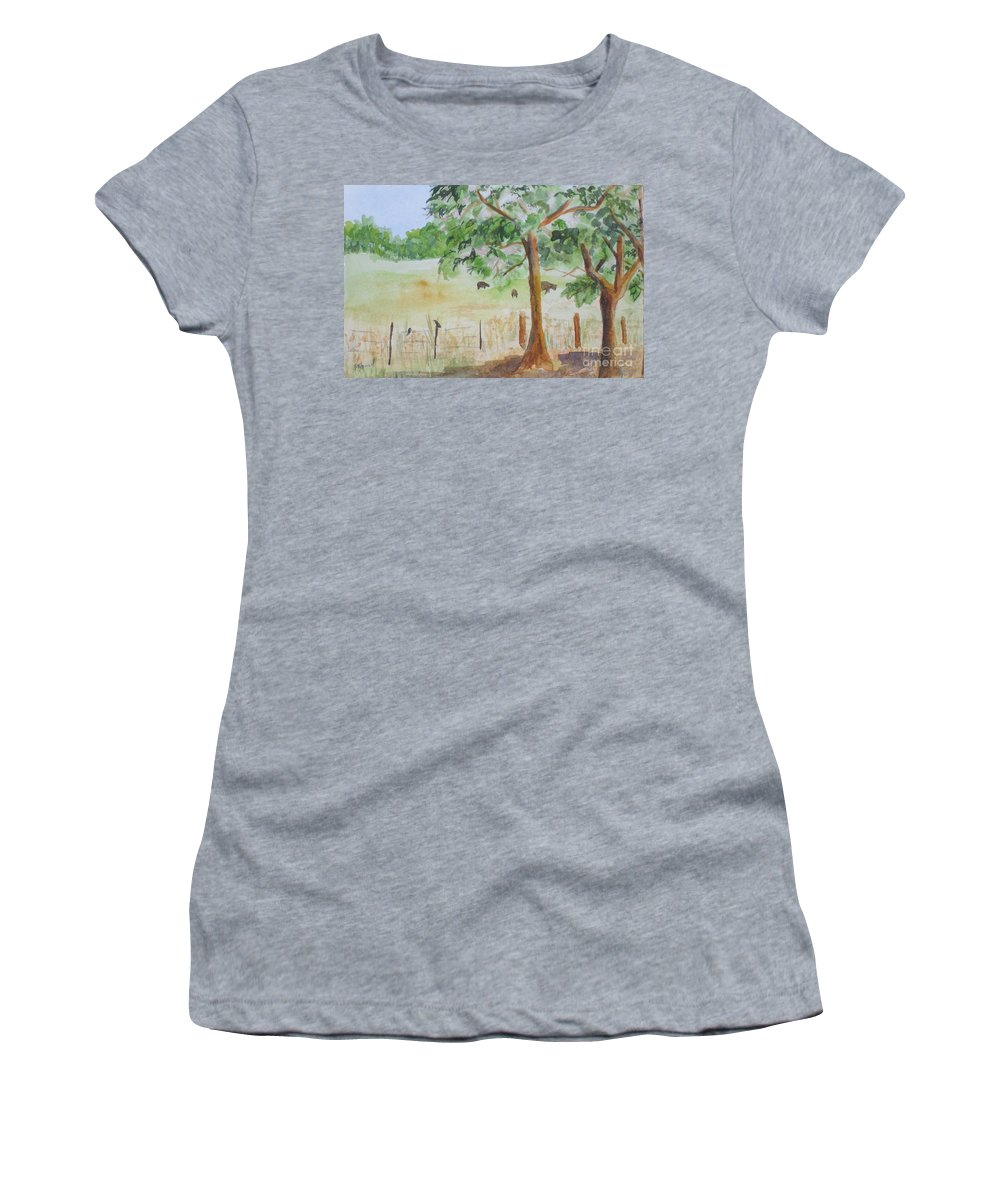Landscape Women's T-Shirt (Athletic Fit) featuring the painting Afternoon On The Farm 2 by Vicki Housel