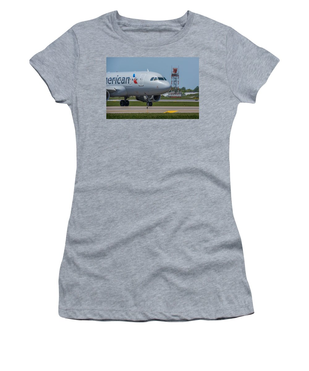 Airbus Women's T-Shirt featuring the photograph Airbus A319 On Taxi by Guy Whiteley