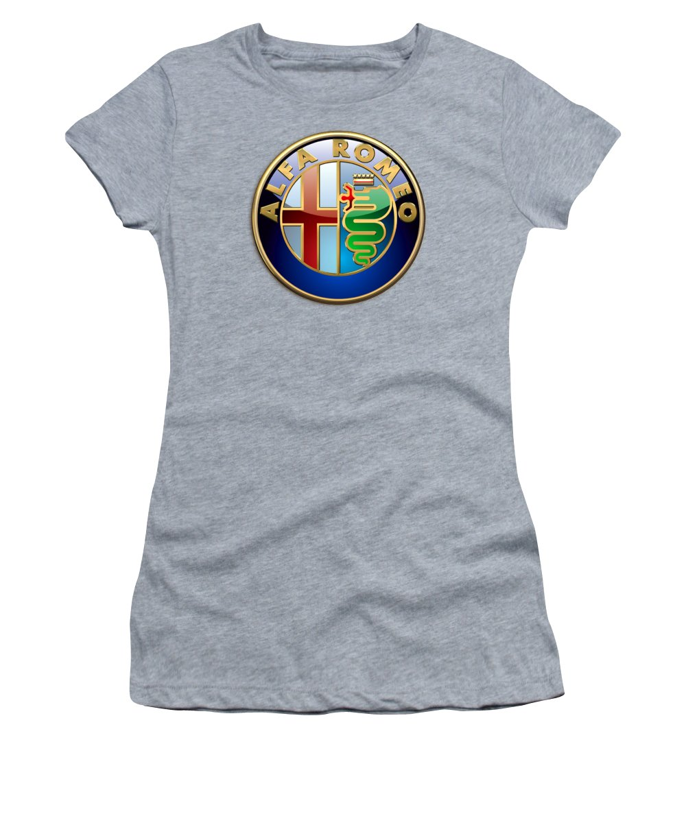Wheels Of Fortune By Serge Averbukh Women's T-Shirt featuring the photograph Alfa Romeo - 3d Badge on Red by Serge Averbukh