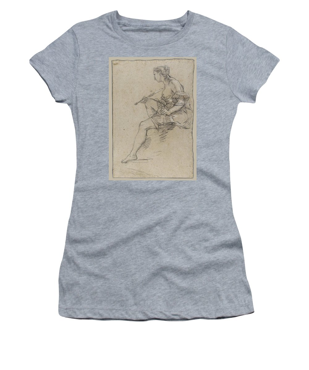 Etienne Parrocel Women's T-Shirt featuring the drawing Allegory Of Painting by Etienne Parrocel