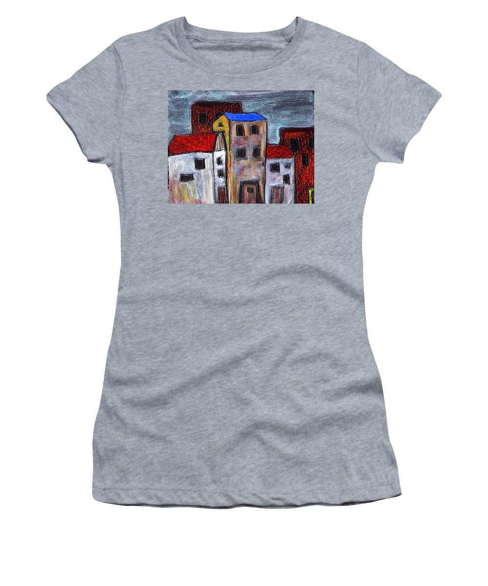 City Scene Women's T-Shirt (Athletic Fit) featuring the painting Alley Doors by Wayne Potrafka