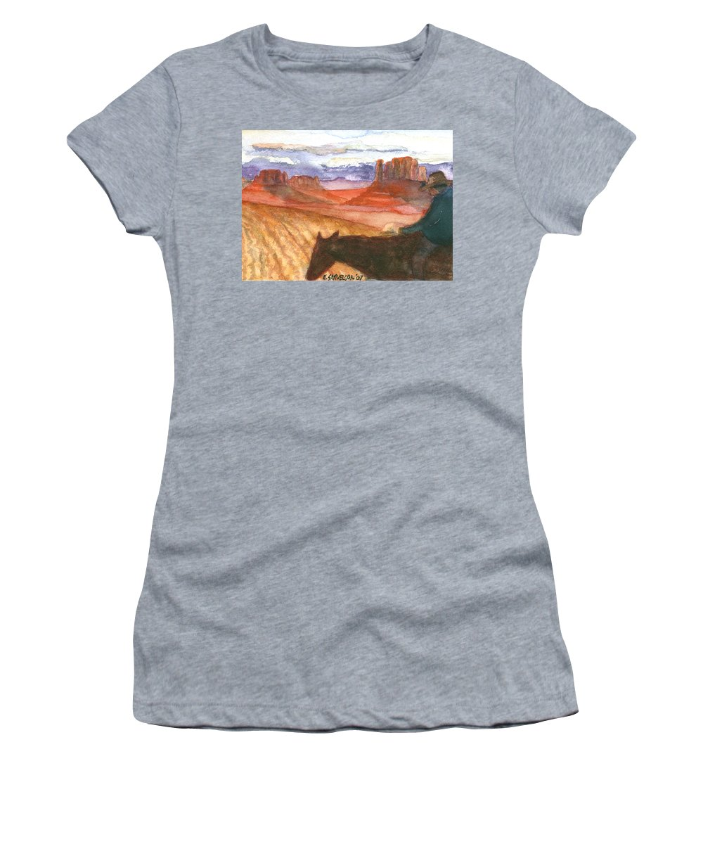 Navajo Women's T-Shirt (Athletic Fit) featuring the painting Almost Home by Eric Samuelson
