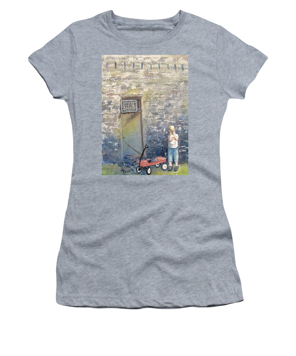 Child Women's T-Shirt (Athletic Fit) featuring the painting Alone by Gale Cochran-Smith