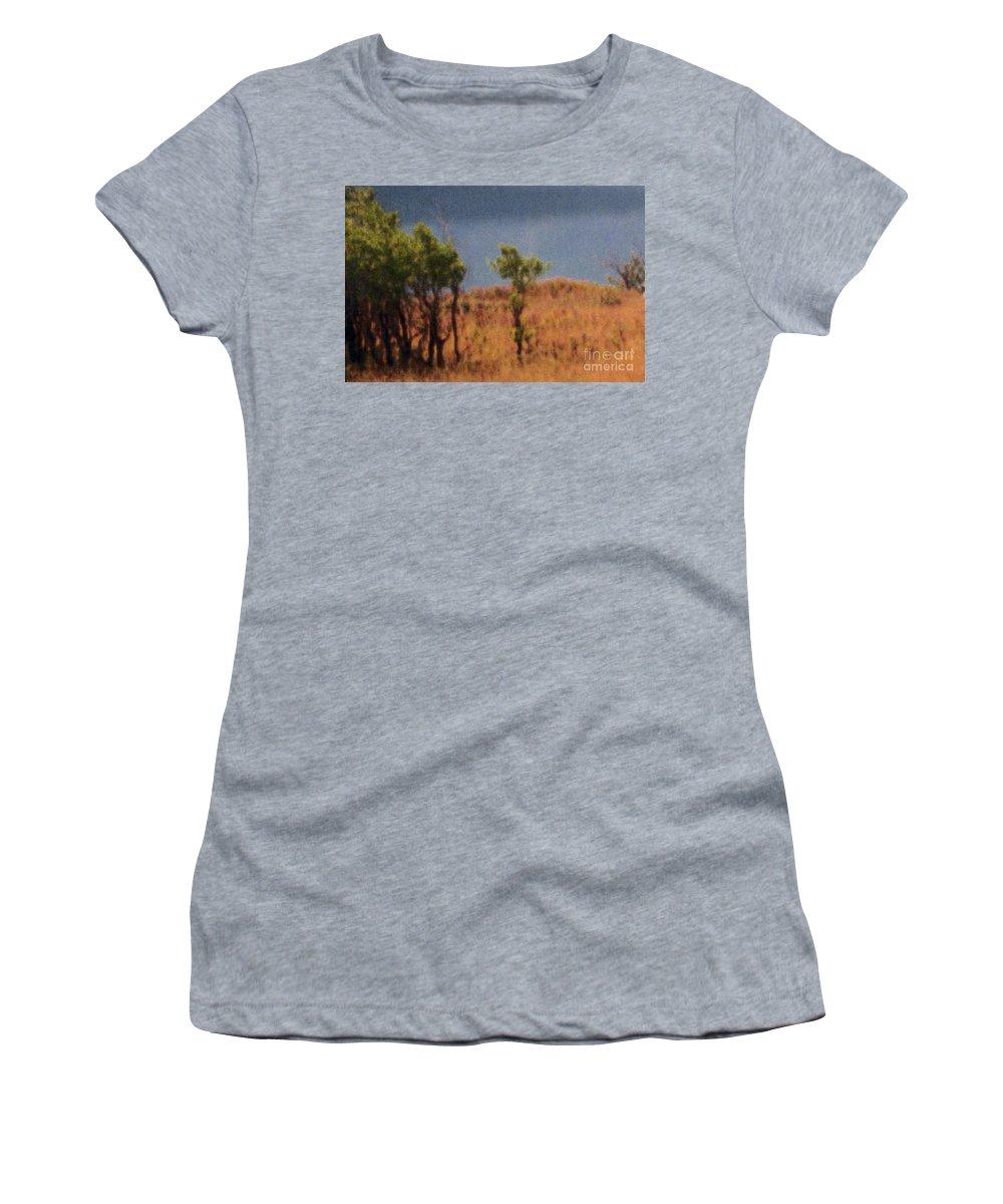 Field Women's T-Shirt featuring the digital art Along The Lake by Richard Rizzo