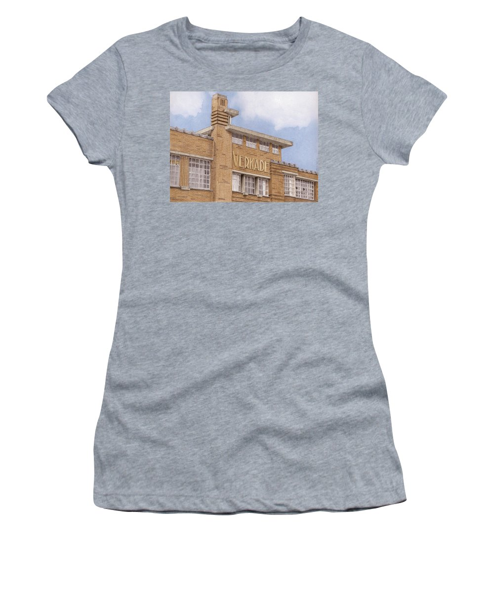 Zaanstad Women's T-Shirt (Athletic Fit) featuring the drawing Along The River Zaan Verkade Factory by Rob De Vries