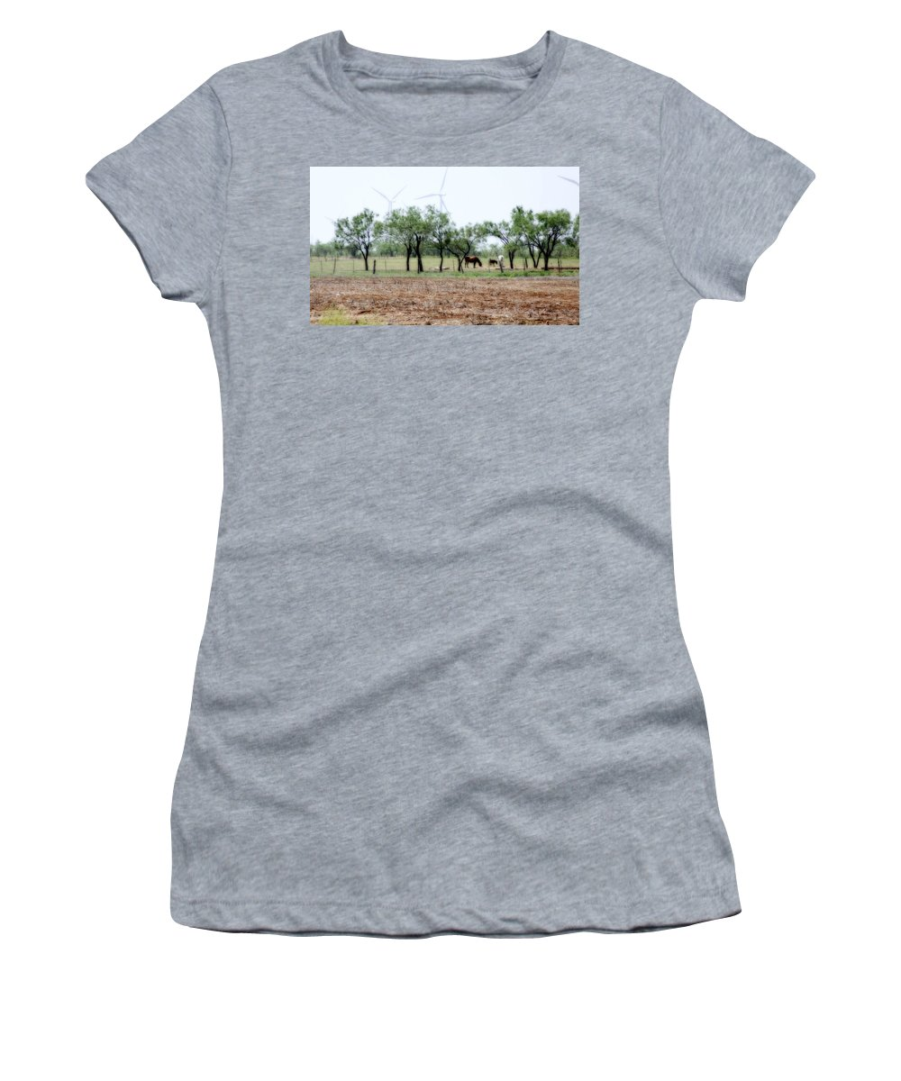 Landscape Women's T-Shirt (Athletic Fit) featuring the photograph Along The Road by Jill Smith