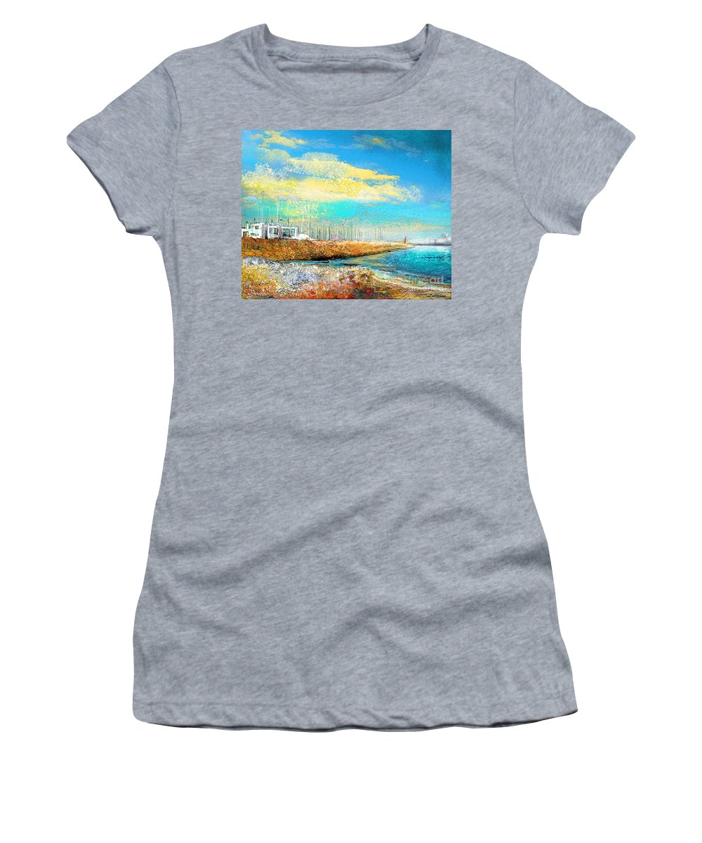 Altea Painting Women's T-Shirt (Athletic Fit) featuring the painting Altea 04 by Miki De Goodaboom