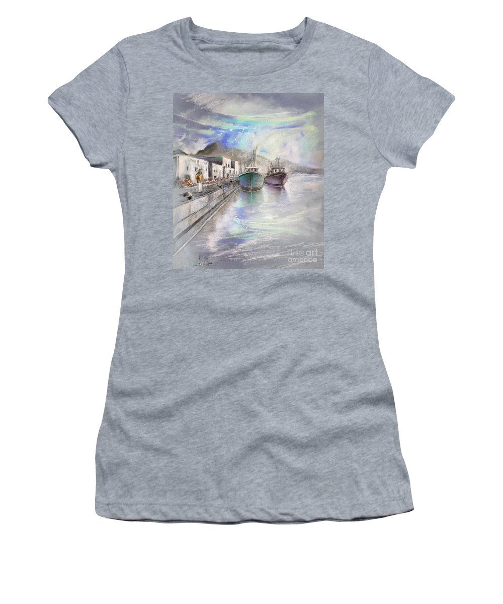 Altea Lanscape Women's T-Shirt (Athletic Fit) featuring the painting Altea Harbour On The Costa Blanca 01 by Miki De Goodaboom