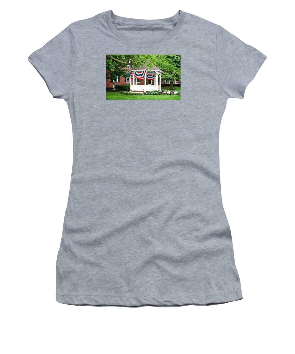 Gazebo Women's T-Shirt (Athletic Fit) featuring the photograph American Gazebo by Margie Wildblood