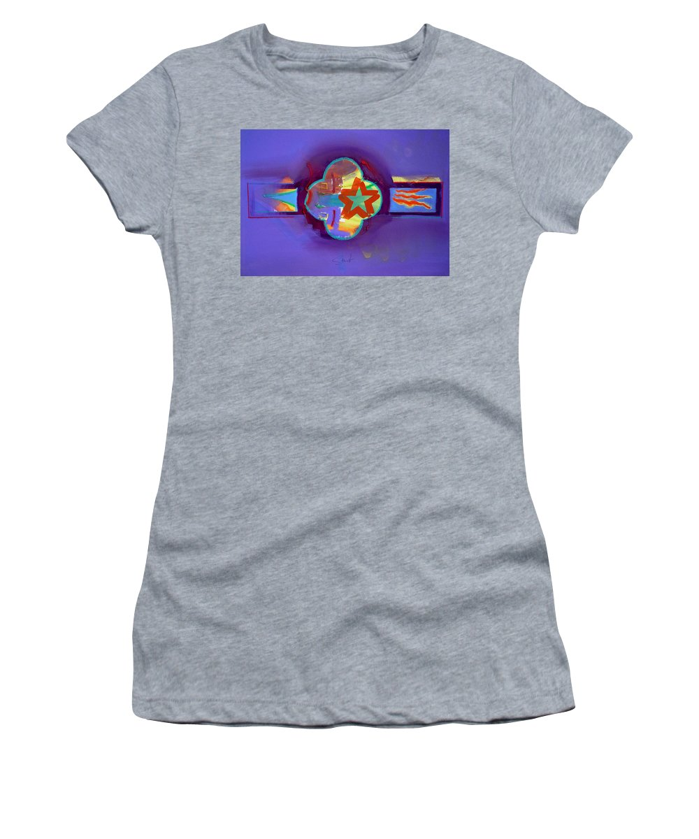 Star Women's T-Shirt (Athletic Fit) featuring the painting American Neon by Charles Stuart