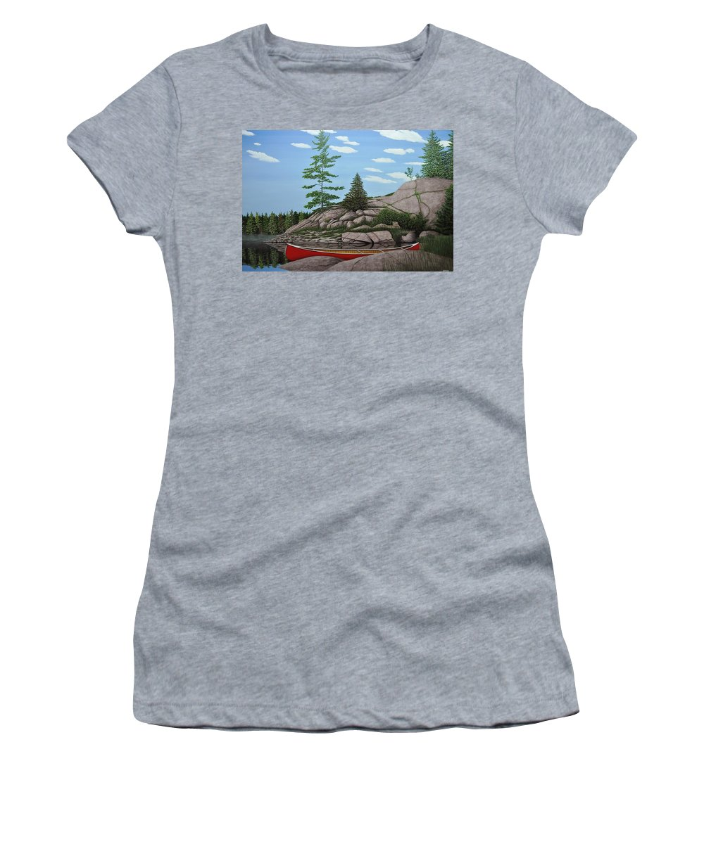 Canoes Women's T-Shirt (Athletic Fit) featuring the painting Among The Rocks II by Kenneth M Kirsch