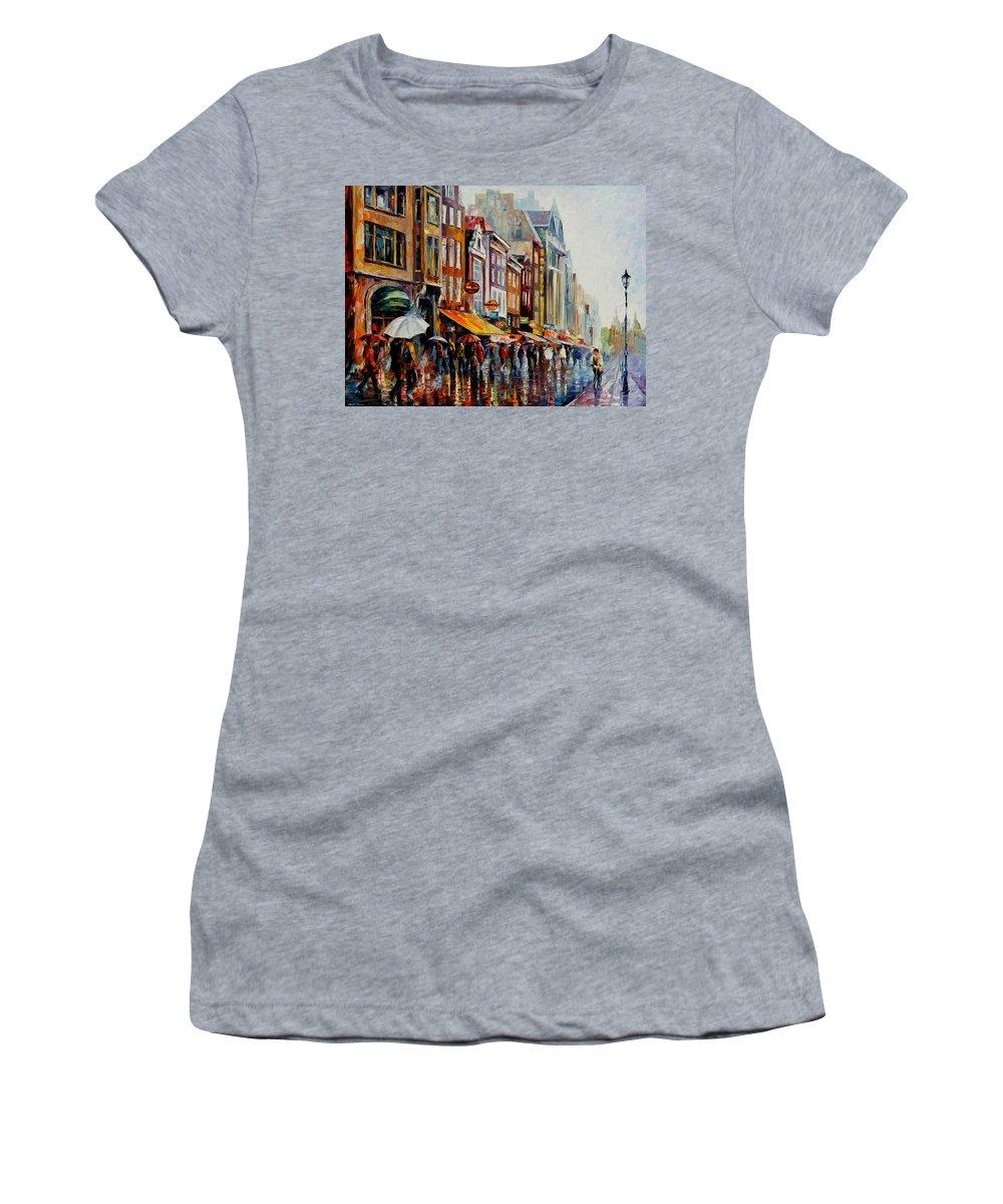 Afremov Women's T-Shirt featuring the painting Amsterdam's Rain by Leonid Afremov
