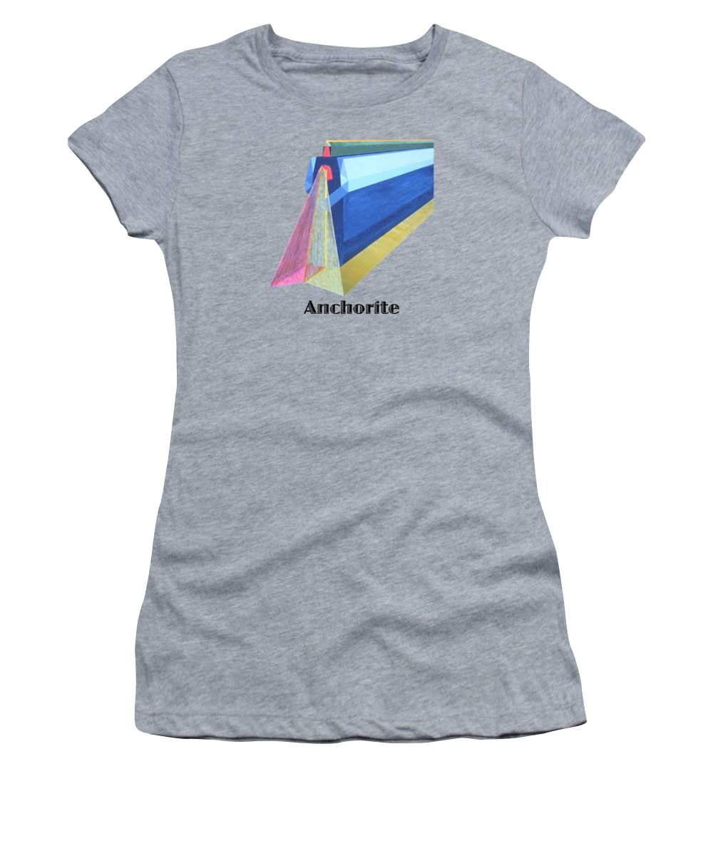 Painting Women's T-Shirt featuring the painting Anchorite -text by Michael Bellon