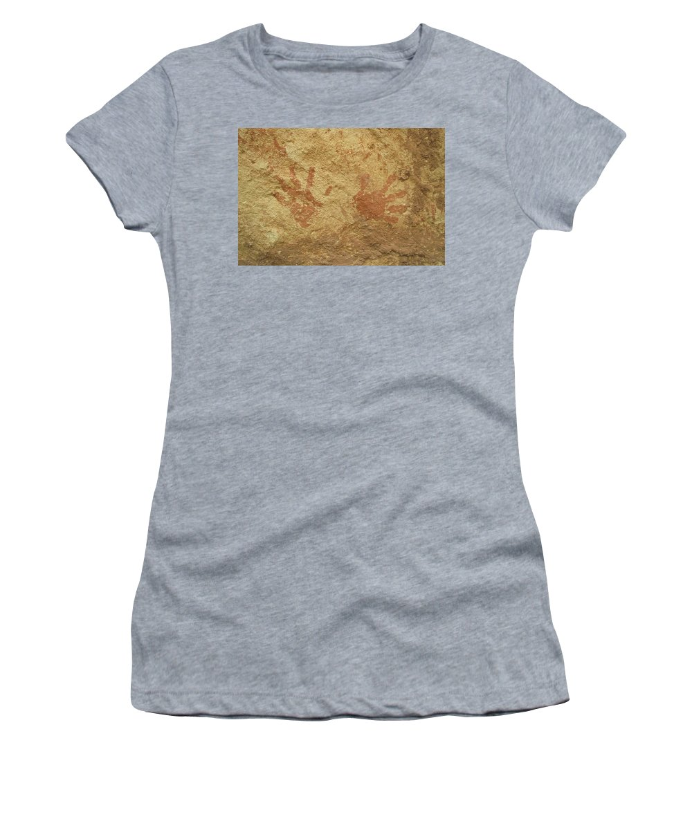 Anasazi Women's T-Shirt (Athletic Fit) featuring the photograph Ancient Hands by Jerry McElroy