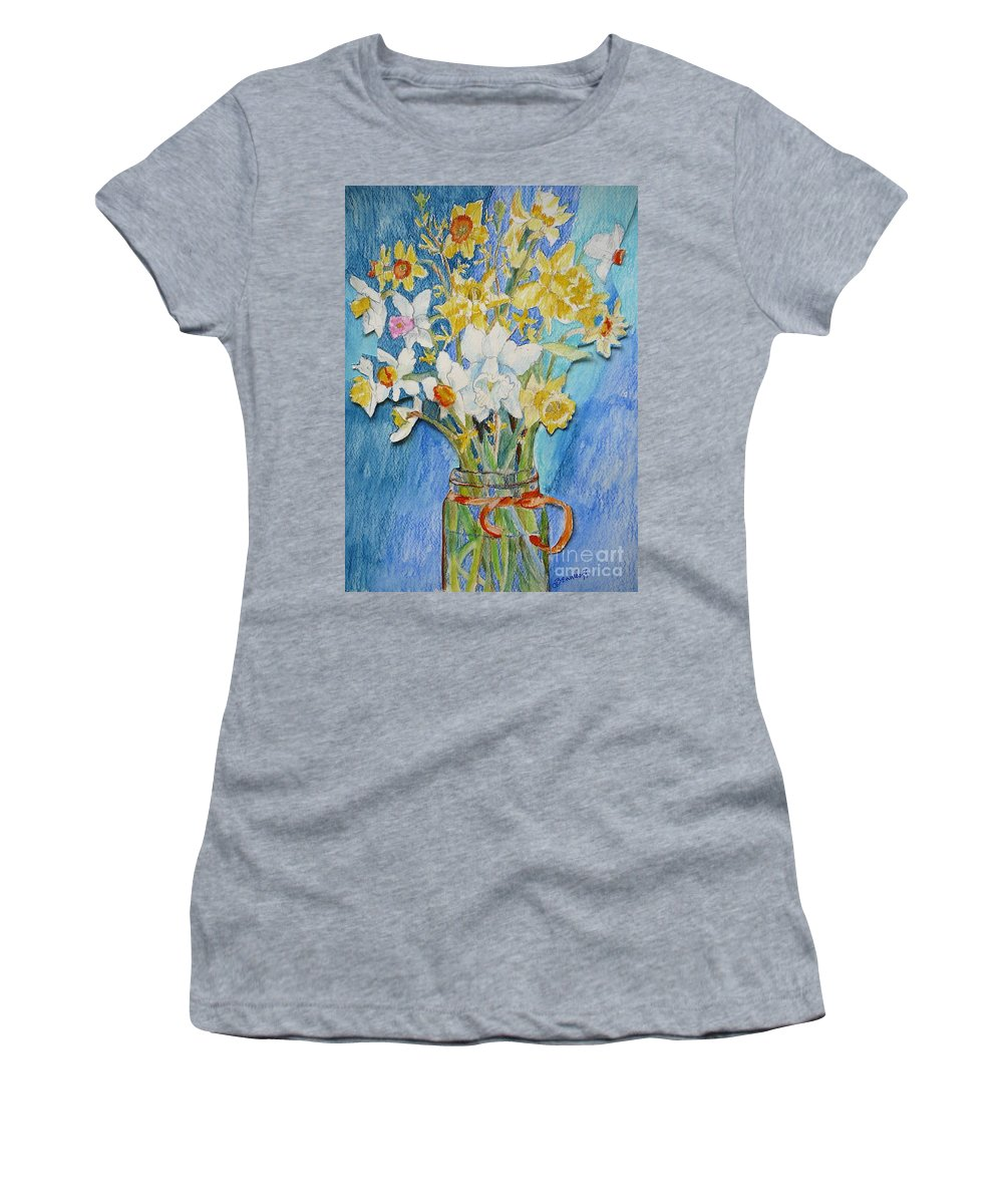 Flowers Women's T-Shirt featuring the painting Angels Flowers by Jan Bennicoff