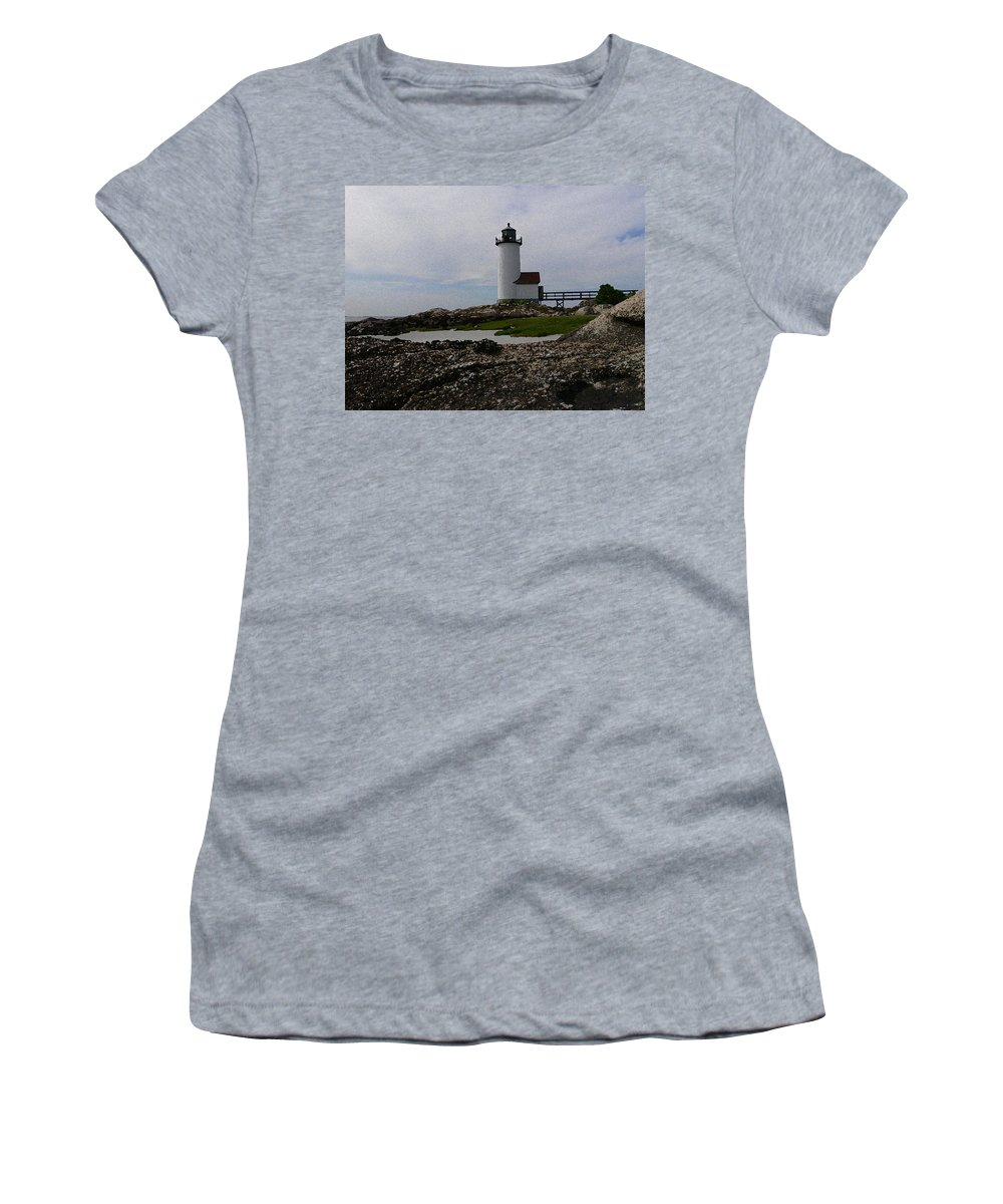 New England Lighthouse Women's T-Shirt featuring the photograph Annisquam Lighthouse by Nancie DeMellia