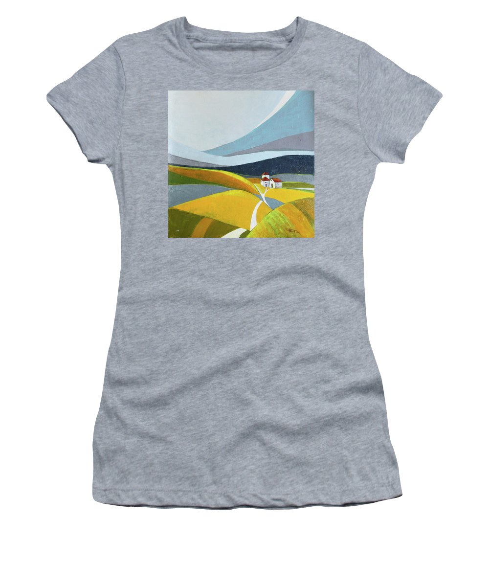 Landscape Women's T-Shirt (Athletic Fit) featuring the painting Another Day On The Farm by Aniko Hencz