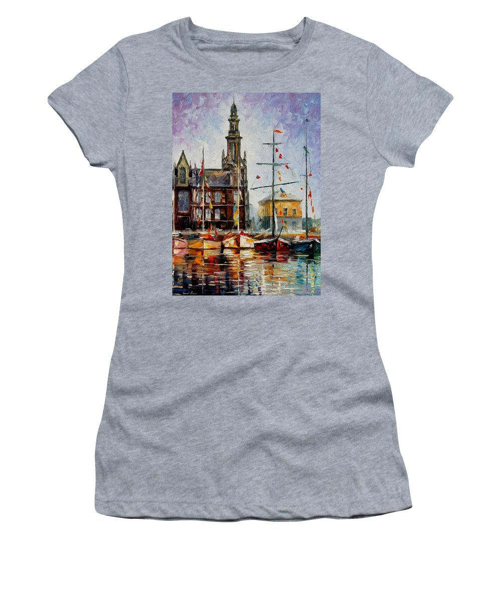 Afremov Women's T-Shirt (Athletic Fit) featuring the painting Antwerp - Belgium by Leonid Afremov