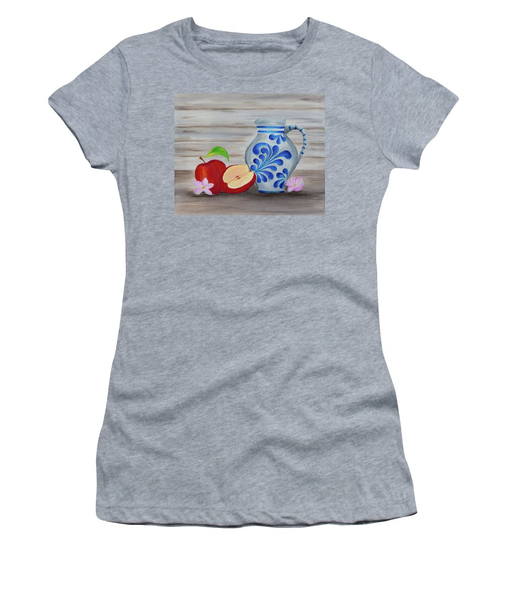 Frankfurt Women's T-Shirt featuring the painting Apfelwein Story by Iryna Goodall