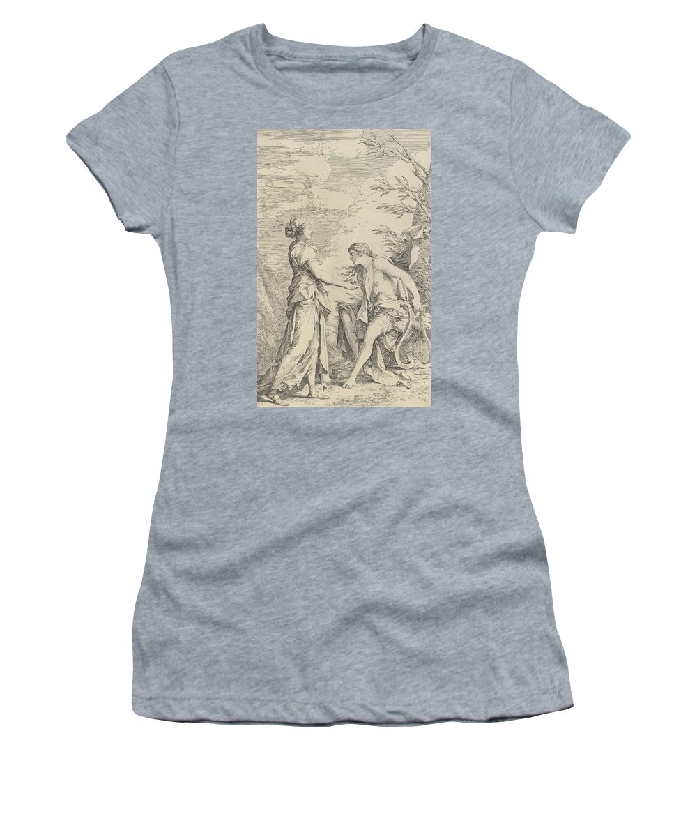17th Century Art Women's T-Shirt featuring the relief Apollo And The Cumaean Sibyl by Salvator Rosa