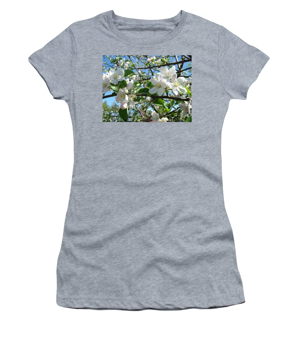 �blossoms Artwork� Women's T-Shirt (Athletic Fit) featuring the photograph Apple Blossoms Art Prints 60 Spring Apple Tree Blossoms Blue Sky Landscape by Baslee Troutman