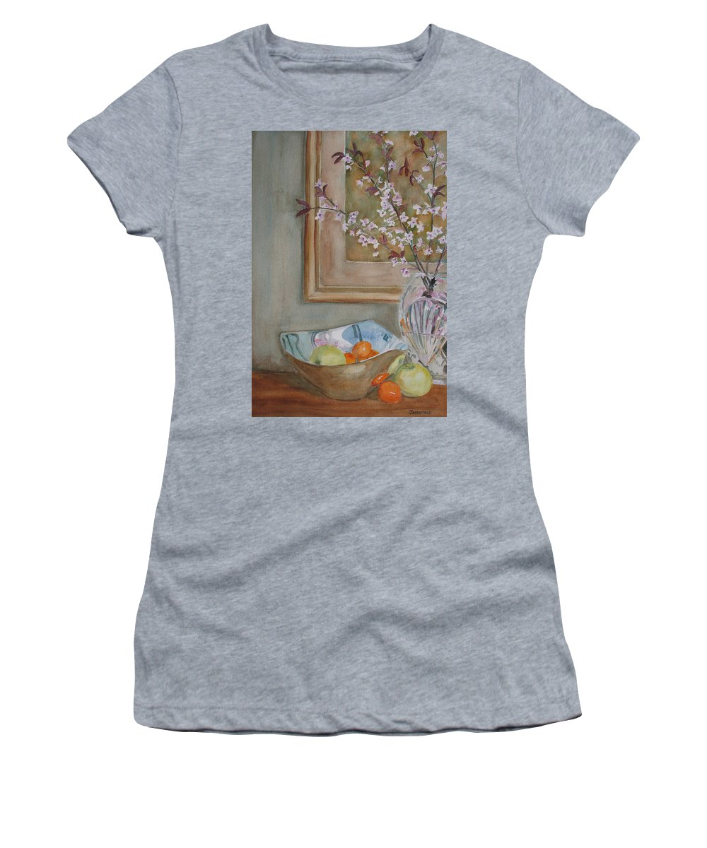 Apples Women's T-Shirt featuring the painting Apples And Oranges by Jenny Armitage
