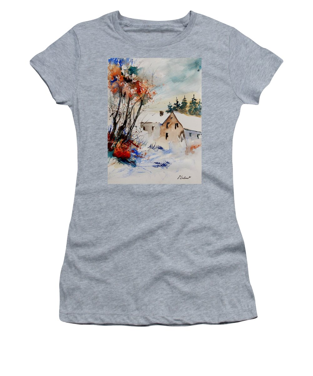Winter Women's T-Shirt (Athletic Fit) featuring the painting Aqua 905070 by Pol Ledent