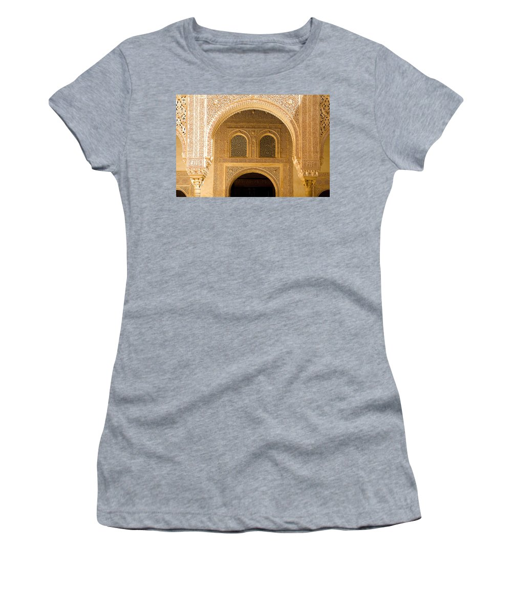 Cuarto Women's T-Shirt (Athletic Fit) featuring the photograph Arabesque Ornamental Designs At The Casa Real In The Nasrid Palaces At The Alhambra by Mal Bray