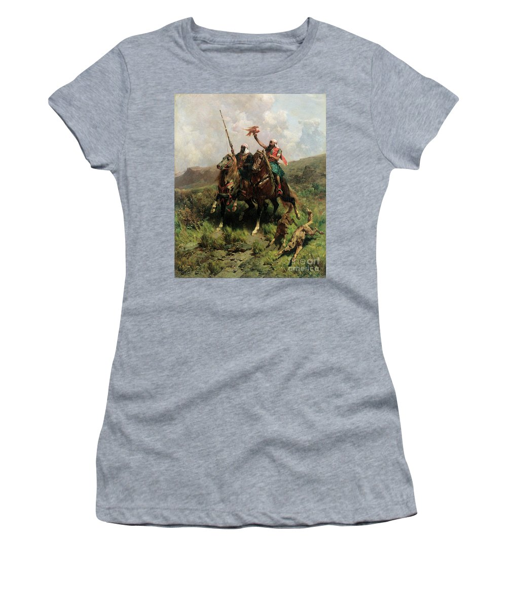 Arabs Women's T-Shirt featuring the painting Arabs With A Falcon by Alberto Pasini