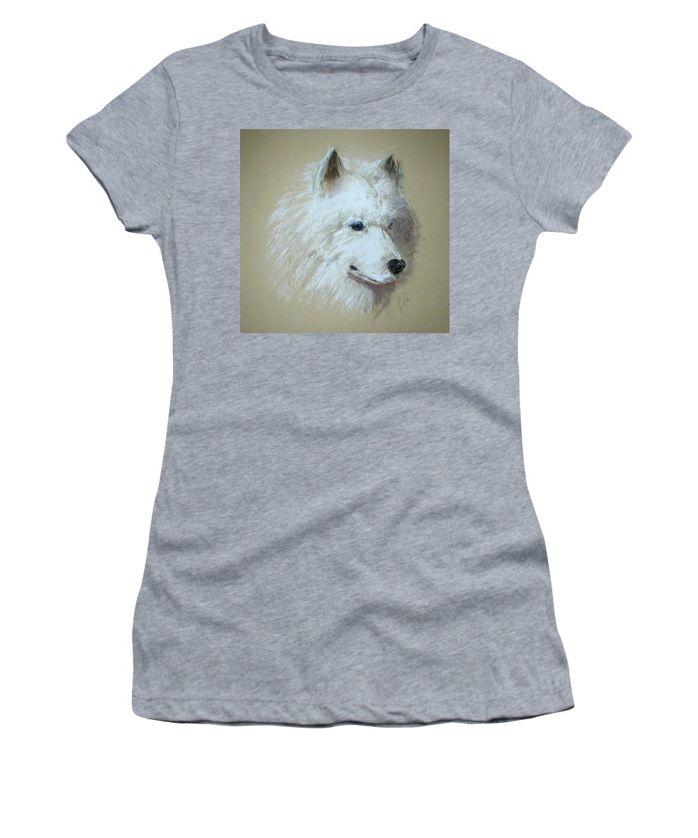 Dog Women's T-Shirt (Athletic Fit) featuring the drawing Arctic Serenity by Cori Solomon