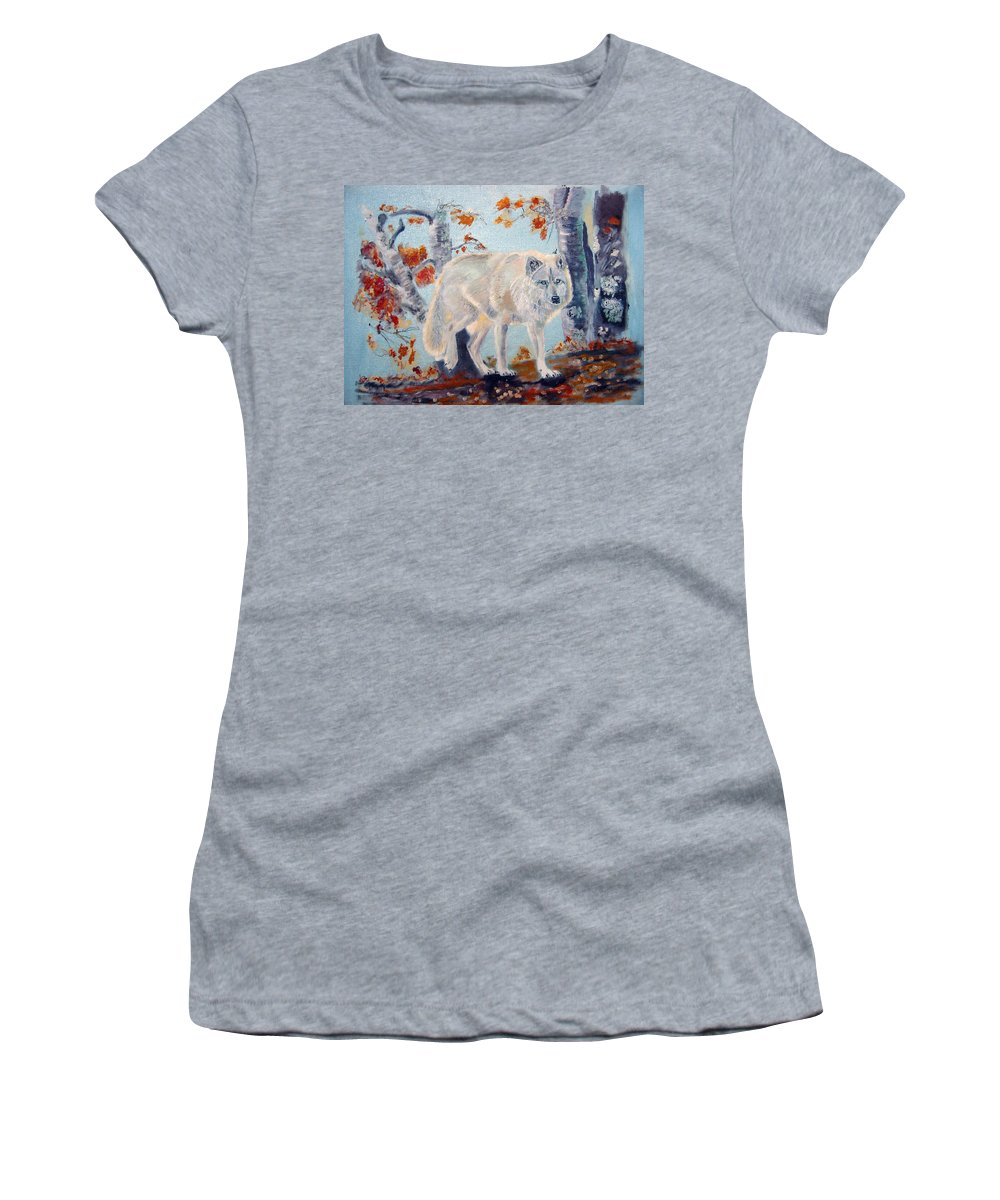 Wolf Women's T-Shirt (Athletic Fit) featuring the painting Arctic Wolf by Richard Le Page